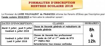 Formalités d'inscription rentrée 2018